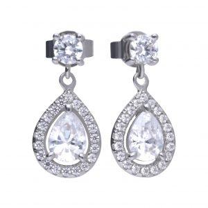 Diamonfire CZ Teardrop Pavé Drop Silver Earrings