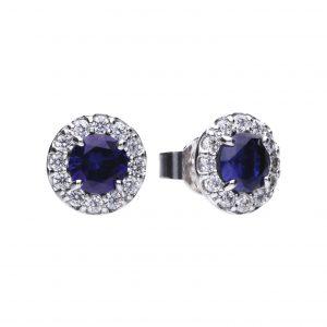 Diamonfire Blue Zirconia Round Cluster Earrings