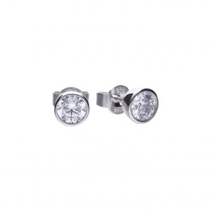 Diamonfire CZ Rub-Over 1ct Solitaire Silver Earrings