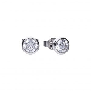 Diamonfire CZ Rub-Over 1.5ct Solitaire Silver Earrings