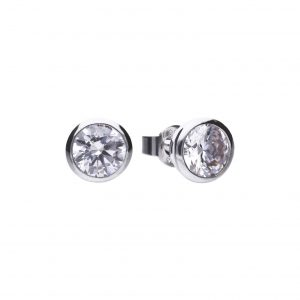 Diamonfire CZ Rub-Over 2ct Solitaire Silver Earrings