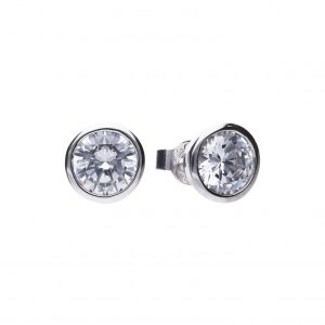 Diamonfire CZ Rub-Over 3ct Solitaire Silver Earrings
