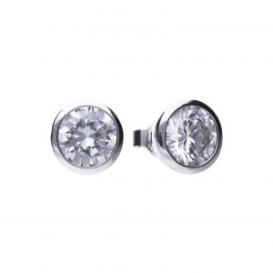 Diamonfire CZ Rub-Over 4ct Solitaire Silver Earrings