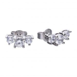 Diamonfire CZ 3 Graduated Stones Silver Earrings
