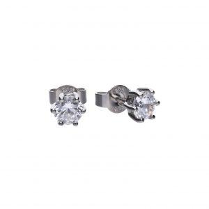 Diamonfire CZ 1ct Solitaire Stud Silver Earrings