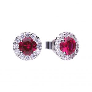 Diamonfire CZ Red Round Cluster Silver Earrings
