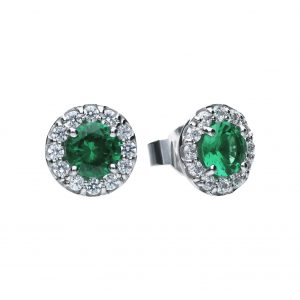 Diamonfire CZ Green Round Cluster Silver Earrings