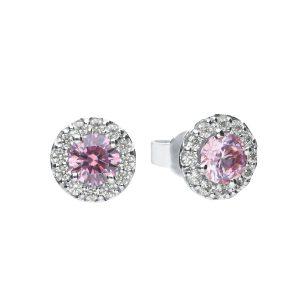 Diamonfire CZ Dusky Pink Round Cluster Silver Earrings