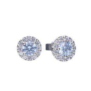 Diamonfire CZ Sky Blue Round Cluster Silver Earrings