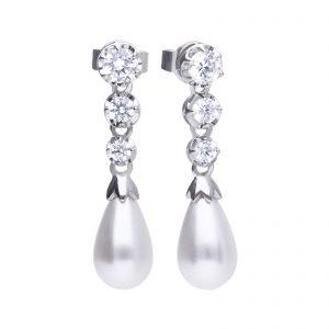 Diamonfire CZ Shell Pearl Drop Silver Earrings