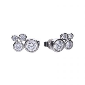 Diamonfire CZ Rub Over Cluster Silver Earrings