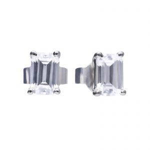 Diamonfire CZ Emerald Cut Stud Silver Earrings