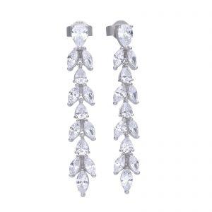 Diamonfire CZ Vine Design Long Drop Silver Earrings