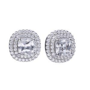 Diamonfire CZ Cushion Cut Double Halo Silver Earrings