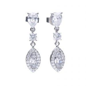 Diamonfire CZ Marquise Cut Pavé Drop Silver Earrings