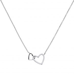 Diamonfire CZ Entwined Pavé Hearts Silver Necklace