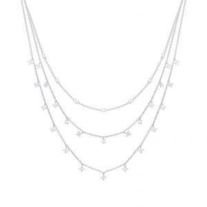 Diamonfire CZ Triple Drop Layer Silver Necklace