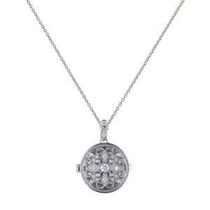 Diamonfire CZ Round Ornate Silver Locket
