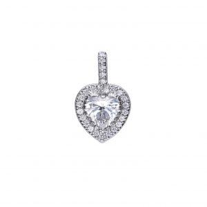 Diamonfire CZ Pavé Set Heart Silver Pendant