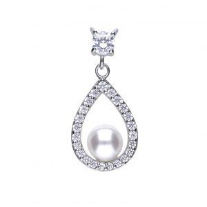 Diamonfire CZ Shell Pearl Open Teardrop Silver Pendant