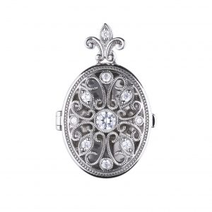 Diamonfire CZ Oval Ornate Silver Locket
