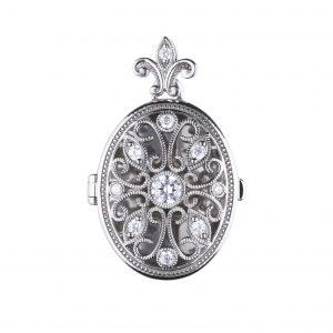 Diamonfire CZ Oval Ornate Silver Locket