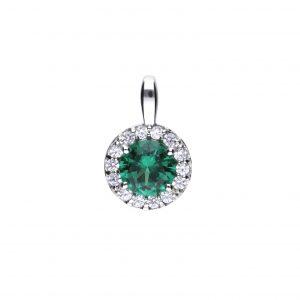 Diamonfire CZ Green Round Pavé Silver Pendant