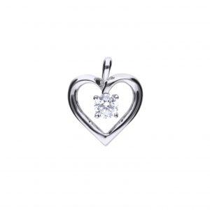 Diamonfire CZ Open Heart Solitare Drop Silver Pendant