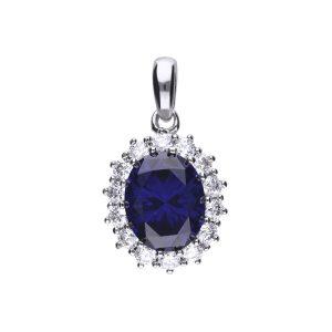 Diamonfire CZ Blue Oval Pavé Silver Pendant