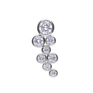 Diamonfire CZ Rub Over Cluster Silver Pendant